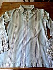 Nearly New Burton's Green/Brown/White Striped Lightweight L/S Cotton Shirt (M)