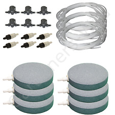 "4"" 10cm AIR STONE KIT 6x DIFFUSER +VALVES +NON RETURN +30m PIPE hydroponic pond"