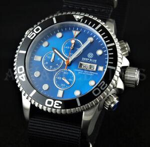 DEEP BLUE 44mm LT Blue Dial Black Bezel Master 1000 SAPPHIRE Watch w Extra Strap