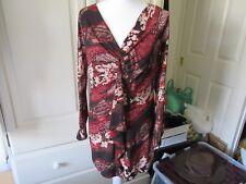 Ladies KIM & CO Long Sleeve Stretch Russet Mix Tunic Top Size Medium 12-14 BNWOT