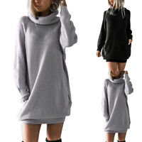 Women Knitted Turtleneck Long Sleeve Sweater Dress Fall Winter Plus Size