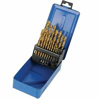 Titanium Coated HSS Drill Bit Set 19 Pc  Plastic Wood Metal 1 To 10mm DS49