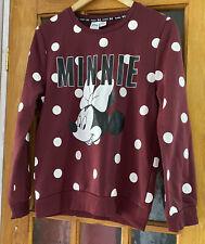 Ladies Burgundy Minnie Mouse Jumper Size 6-8