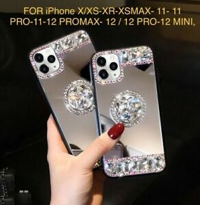 Bling Diamond Mirror Case For iPhone12 /11 X/XS,XSMAX,XR,Promax,c/w Ring Holder
