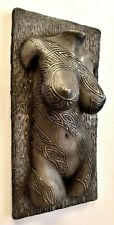 Sexy Erotic female nude torso tattoo covered pewter wall sculpture home decor