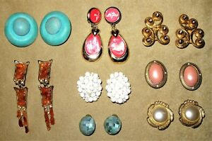 Mixed Lot - 8 x Lovely Vintage Clip-on Earrings Inc Natural Amber, MOP