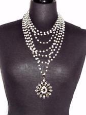 Stunning SAFIA DAY Multi Chain Pearl Clear and Smokey Quartz Pendant Necklace