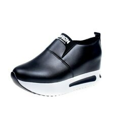 Women's Hidden Wedge Mid Heels Trainer Slip on Sports Shoe PU Leather Sneaker B