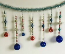 Vintage Christmas Mercury Glass Ornament Patriotic Icicles Long Beaded Set Of 7