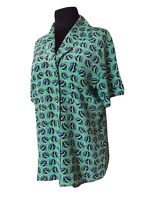 Escada by Margaretha Ley VTG 80's Women's Silk Blouse With Print Fish Buttons M