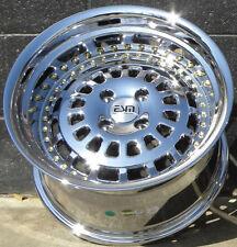 15x9 4x100 Platinum Chrome ESM-015 Wheels Rims Honda Acura Civic Intergra Mazda