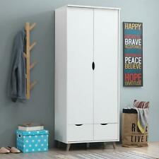 Pulford 2 Door Double Wardrobe + 2 Drawers Bedroom Furniture Cupboard White