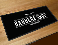 Black Barber Bar runner shop cuts & shaves Barbers Shop Counter mat