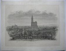 Strasbourg Strasburg Frankreich Elsass Münster Gesamtansicht Orig Radierung 1826