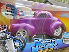 MUSCLE MACHINES 41 WILLYS COUPE  Purple Steel Line 1/18 SCALE NISB Car Toy Lot