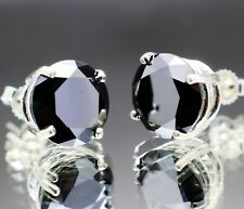 6.22tcw Real Natural Black Diamond Stud Earrings AAA Grade & $3310 Value',