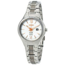 Seiko Solar Powered White Dial Rose-Gold Accented Titanium Ladies Watch - SUT271