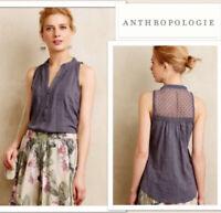 Anthropologie Meadow Rue Womens Size Small Gray Jenson Swiss Dot Crochet Blouse