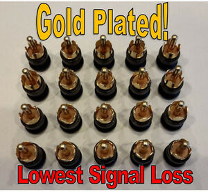 GOLD 20 RCA SHIELDED SHORTING CAPS PLUGS RF/EMI NOISE CANCELING DUST PROTECTION
