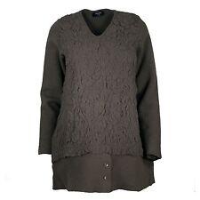 $345 RISONA EUROPEAN fashion Knitwear WOOL EMBOSSED SWEATER Pullover V neck