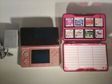 Nintendo 3DS Pink Handheld Video Game Console (CTR-001) 8 games & Hard Case.