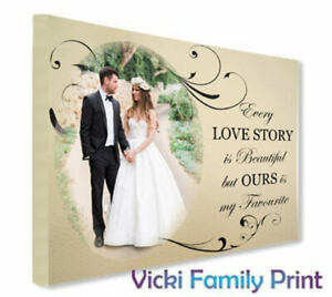 "PERSONALISED 16""X20"" CANVAS  WEDDING GIFT ANNIVERSARY COUPLE VALENTINE"