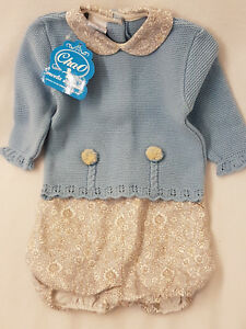Baby Girl Blue and Cream Knitted Top & Shorts set Winter Christmas 6 Months