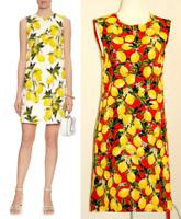 DOLCE & GABBANA Lemon Print Red Jacquard Cotton/Silk Dress US M / IT 40 $1895