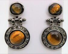 exquisite chic style gun black tone tiger eye & BD stone stud/drop earrings C262