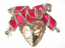 RED MINIATURE JOKER MARDI GRAS DECORATIVE VENETIAN MASQUERADE MASK
