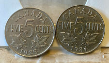1928 & 1934 5 Cents 2-Coin Lot Canada George V (Nickel, 4.6 g, 21.2 mm) Ungraded
