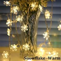 Snowflake 20 LED String Fairy Light Battery Operated Christmas Decor Warm UK