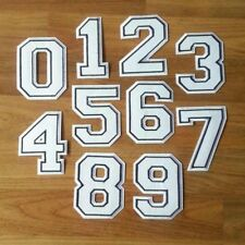 WHITE NUMBERS IRON ON / SEW ON PATCH Embroidered Badge 9CM SPORT UNIFORM PT365