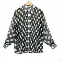 Vintage BCBG Womens size Small Oversized Fit Button Up Polka Dot Black Whit Top