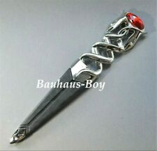 KILT SGIAN DUBH DUMMY SAFETY RUBY RED STONE HIGHLAND SERPENT CHROME FINISH NEW