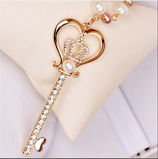 3D Key Pendant Pearl Rhinestone Crystal Long keychain Necklace Women Jewelry