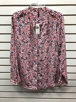 NWT NYDJ Sugar Coral Long Sleeve 3/4 Button Up (Sz L) 89.00$