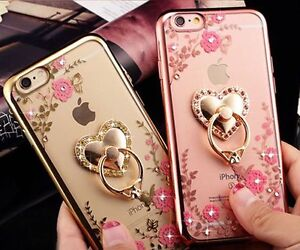 New Diamond Flower Clear Back Ring Case Cover For Apple iPhone 5 6 7 + & Samsung