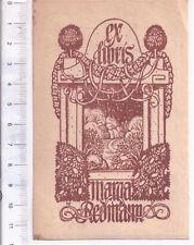 ex libris Marga Redmann  '800 incisione W tedesca -G056