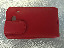 HTC ChaCha Leather Flip Case Cover - Red