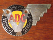 rare VICTORIAN AMATEUR DRIVERS CLUB members race rally car grill BADGE FREE POST
