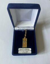 9 CT 375 Collar de Cadena de oro con barra de 1/4 Oz de Oro Lingote Colgante Con Diamantes