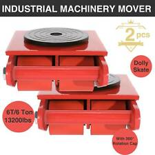 TWO 6T Industrial Machinery Mover w/ 360°Rotation Cap 4 Rollers Dolly Skate tet