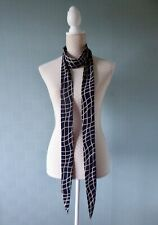 Navy skinny scarf mod sixties thin biker tie navy blue bow long thin polyester