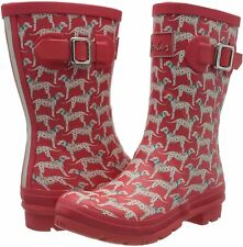 Joules Women's Molly Welly Wellington Boots Size 5 Dalmation Dog - Pink Red