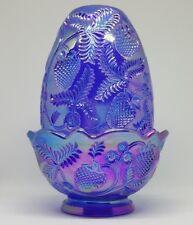 "FENTON BLUE STRAWBERRY CARNIVAL GLASS IRIDESCENT FAIRY LAMP SIGNED RARE 5 1/4"""