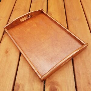 Wooden Serving Large Tray, Set 1 to 10, 40 cm x 30 cm x 5.5 cm, - Light Brown