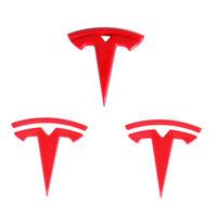 3Pcs Red Tesla Car Front Hood Rear Trunk Steering Wheel Emblem for Tesla Model 3