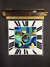 Handmade art deco hanging wall clock glass copper and brass