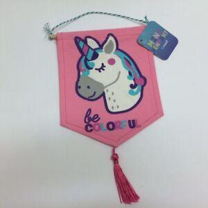 BE COLORFUL Unicorn Mini Pennant Hanging Banner Flag Tassel Pink/Purple/Teal